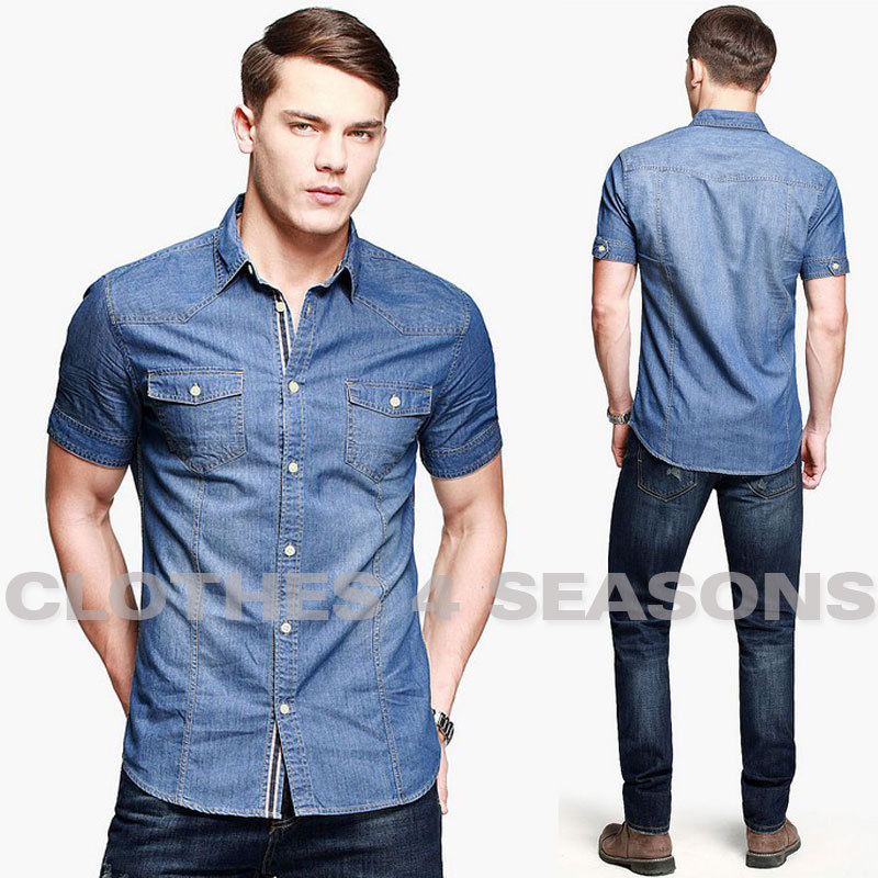 04edc16d42 New 2014 Classic Light Blue Short Sleeve Denim Shirt for Men Washed Denim  Shirts Casual Turn down Collar Men Jean Shirts-in Casual Shirts from Men s  ...