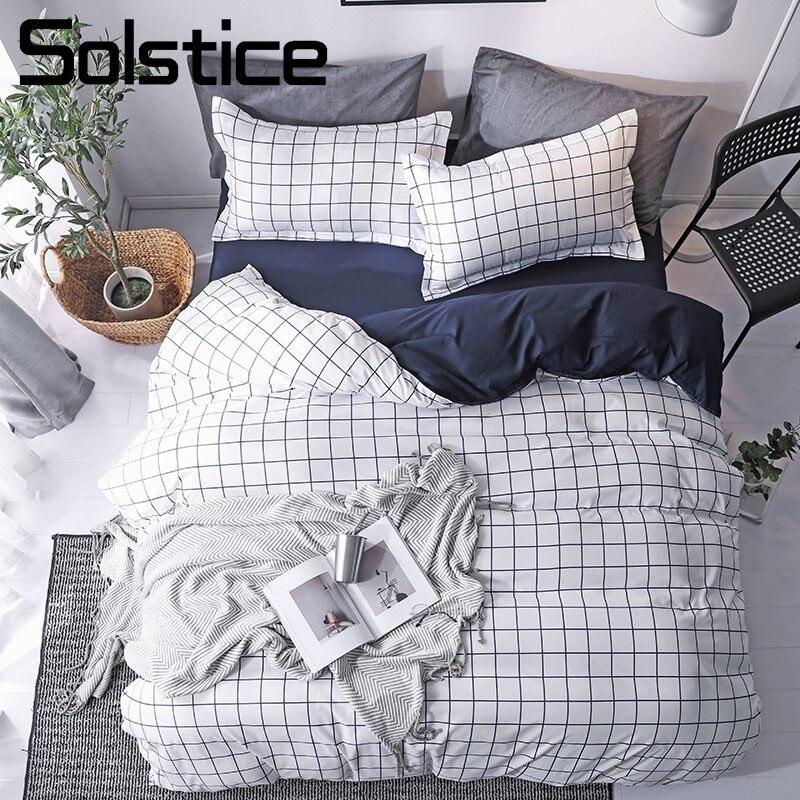 Solstice Home Textile White Blue Plaid Duvet Cover Pillow Cases Flat Bed Sheet Simple Nordic Bedding Linen Set For Teen Boy Girl
