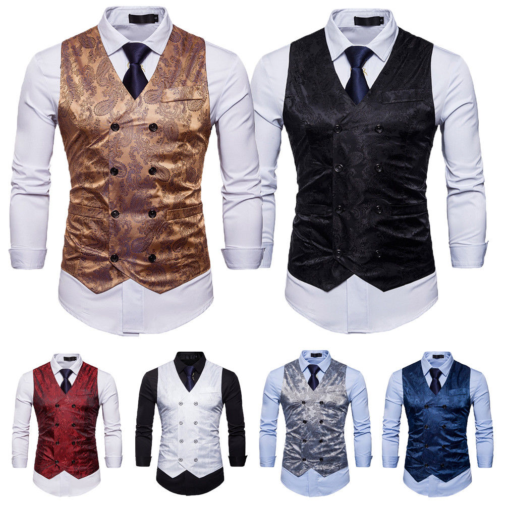 Hirigin 2019 Men Business Suit Vest Formal Tuxedo Waistcoat Jacket Vest