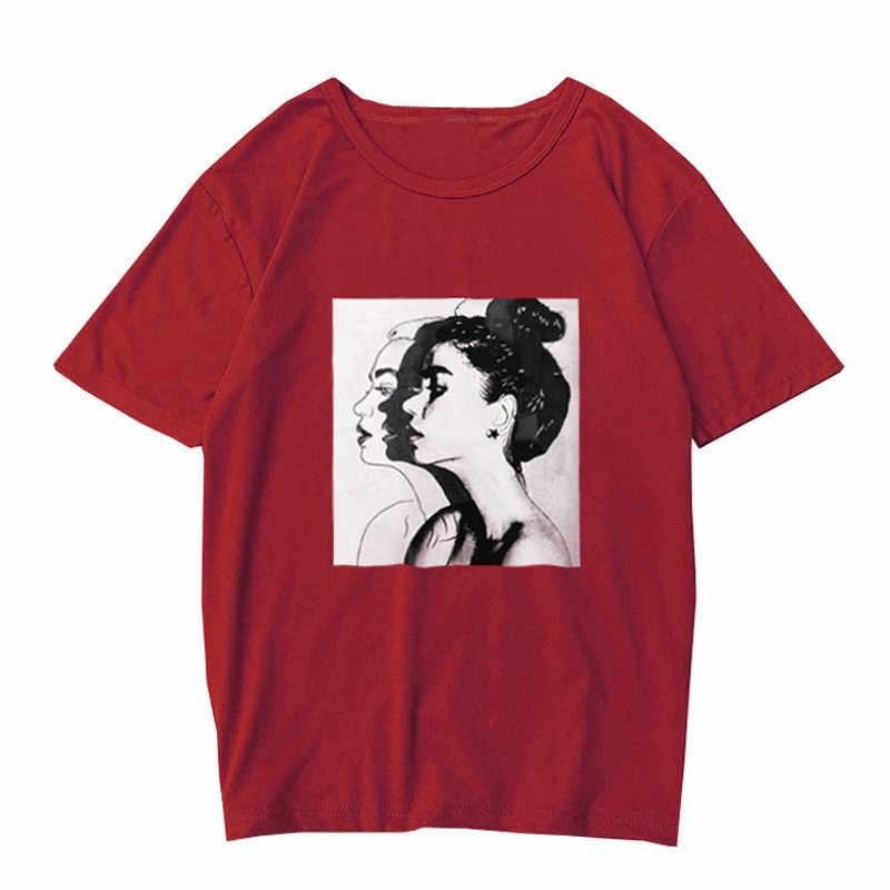 women clothes  2019 Summer fashion T-Shirt Women O-Neck Printing Short Sleeve Loose Shirt T Shirt Ladies Tops Casual Tee FDH
