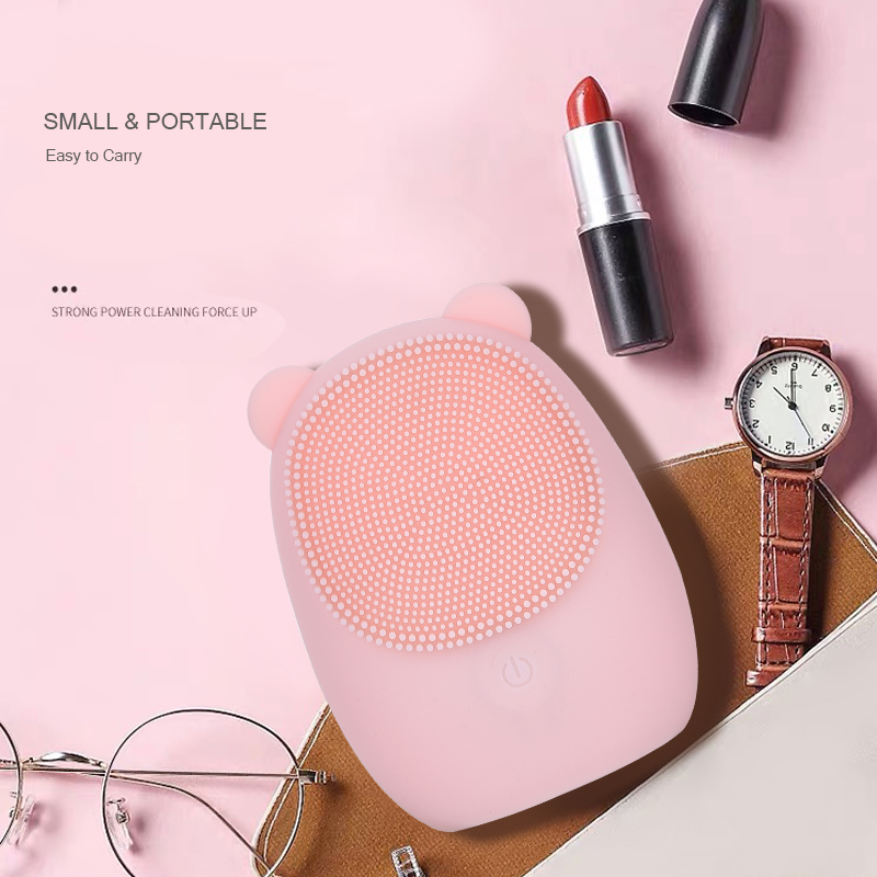 Facial Cleansing Brush Silicone Electric Facial Brush Deep Cleansing for Makeup Residue Skin Cleaner Bear Face Brush for Washing in Powered Facial Cleansing Devices from Home Appliances