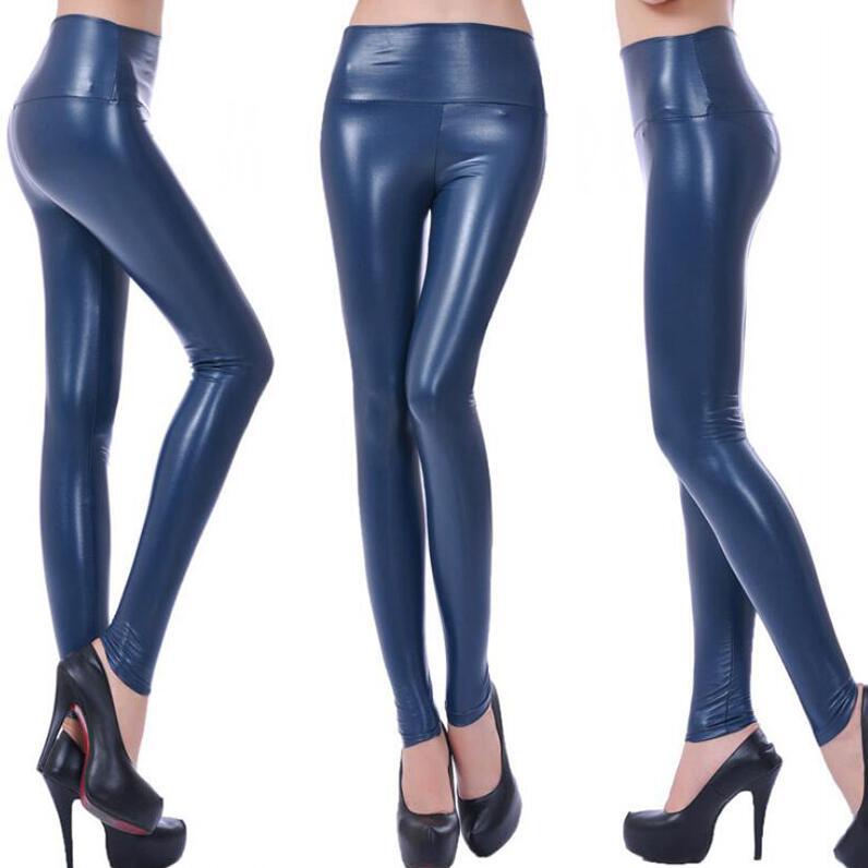 CUHAKCI Legging Free dropshipping Women Hot Sexy Black Wet Look Faux Leather Leggings Slim Shiny Pants Plus size S M L XL XXL 7