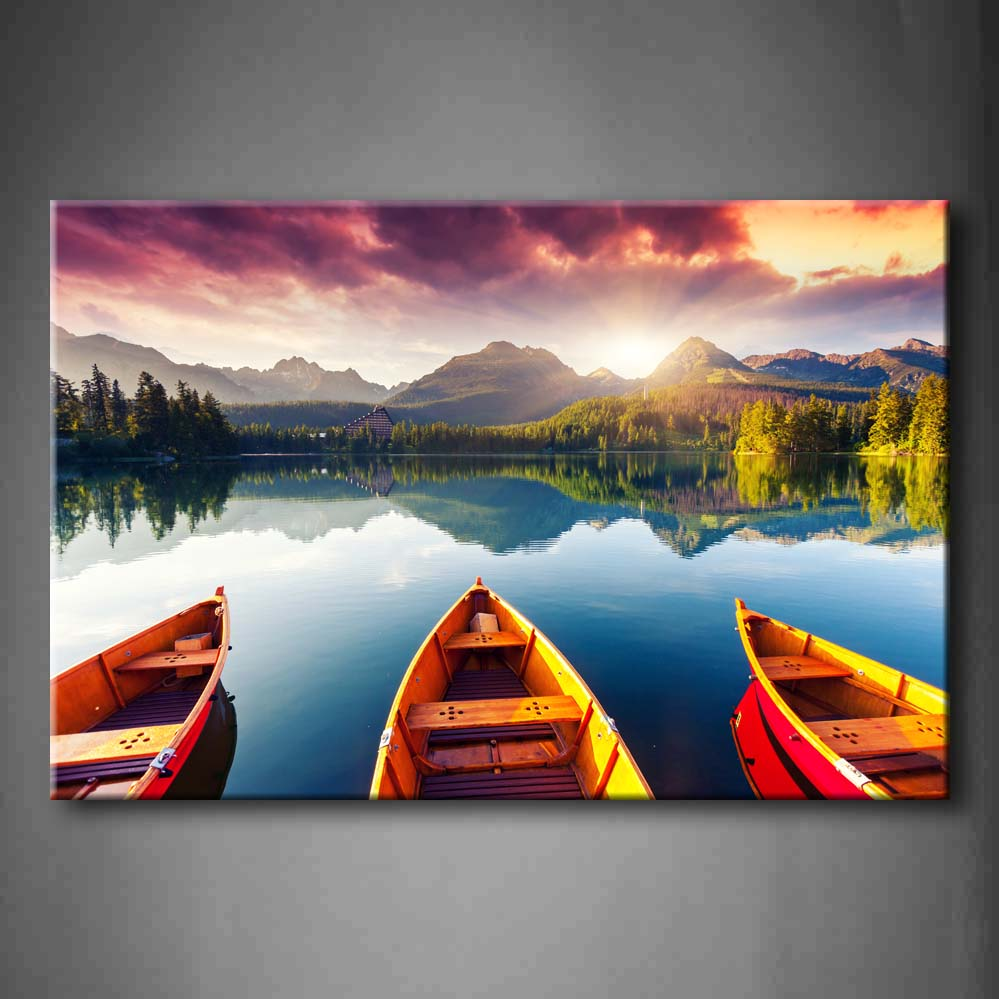 Framed Wall Art Picture Mountain Lake Boats Trees Canvas Print Landscape Modern Poster With Wooden Frame For Living RoomFramed Wall Art Picture Mountain Lake Boats Trees Canvas Print Landscape Modern Poster With Wooden Frame For Living Room