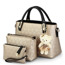 Bags 2016 women's spring summer brief shoulder bag Women Handbag Lady's Vintage Messenger Bags Ladies Wallet Bag Female 3Pcs/Lot