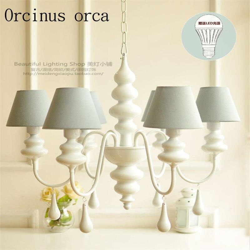 Stile europeo moderno semplice panno di pizzo lampadario soggiorno studio camera da letto Francese giardino bianco Lampadario in ferro