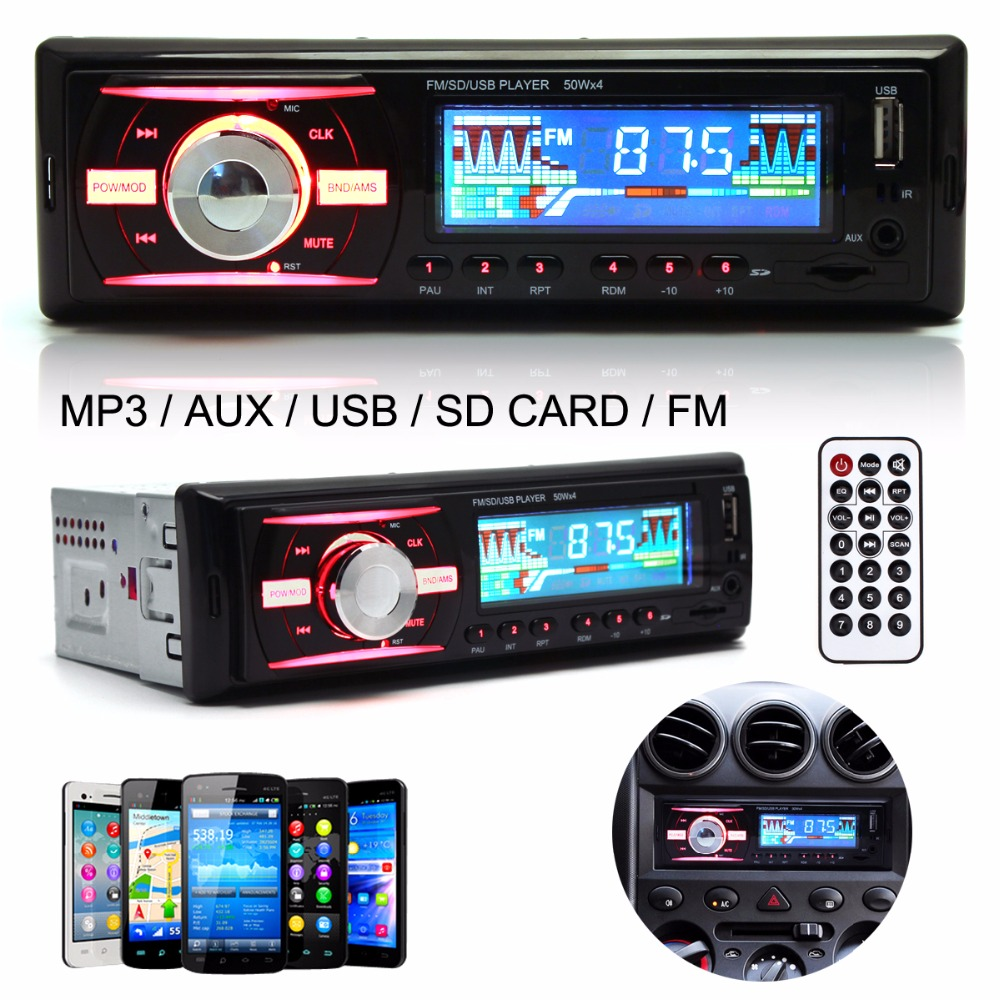 4 Channel Car Audio Stereo In Dash 1 DIN 12V Auto Car Radio MP3 Player Support