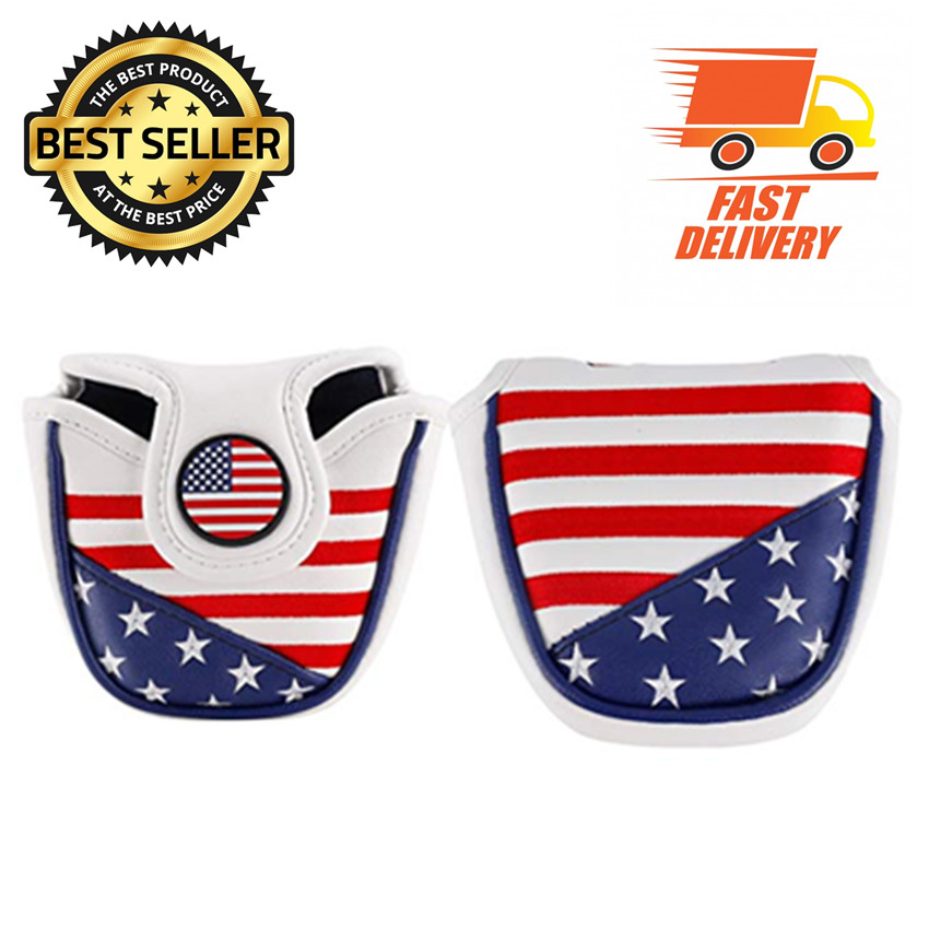 Golf Putter Cover Mallet PU Leather Magnetic Pattern Blade USA Flag Eagle US Golf Club Putter Covers 1 Pc Golf Putter Headcover