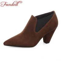 FACNDINLL Women Genuine Leather Pumps Shoes New Fashion High Heels Pointed Toe Shoes Woman Black Dress