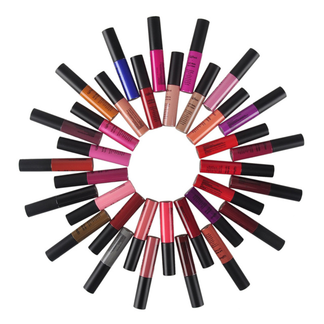 34pcs 34colors QiBest Soft Matte Shimmer Lip Cream Lip Gloss Long-lasting Waterproof Non-stick Cup non-fade lipstick