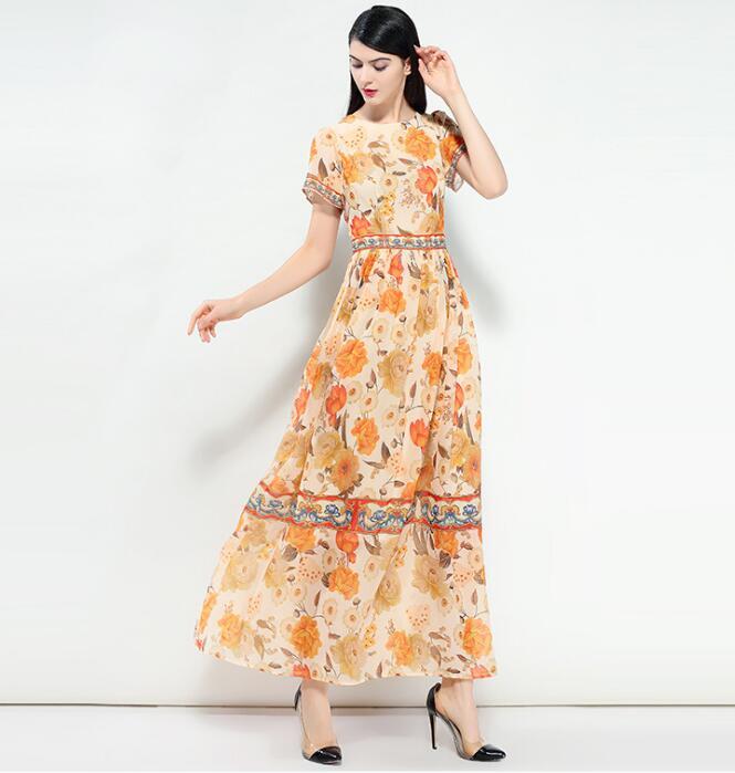 Parti Bohème Qualité Imprimé Haute Picture En 2018 Floral Mode Doux Show As Soie Élégante Conçoit Marque De Pistes D'été Femmes Mousseline Robe stQCdhrx
