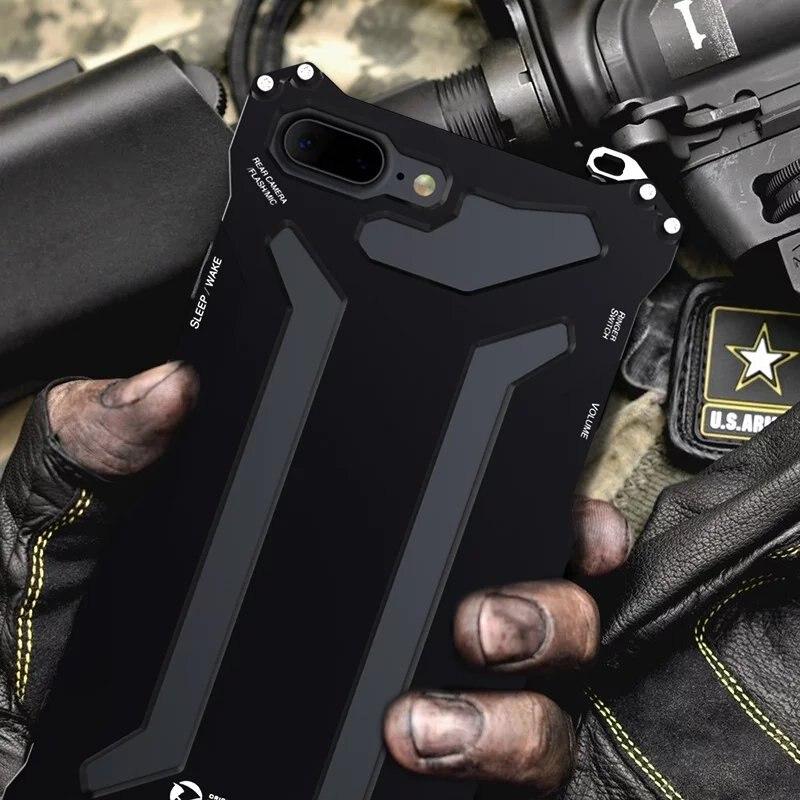 imágenes para R-just gundam doom metal de lujo case para iphone 7 7 plus 360 grado armadura de aluminio cubierta protectora teléfono fundas coque vivienda