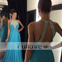 20927aad30 Noble Halter turquesa con cuentas de cristal línea de vestidos de noche  largo 2019 sin espalda Vestido Formal Vestido de fiesta .