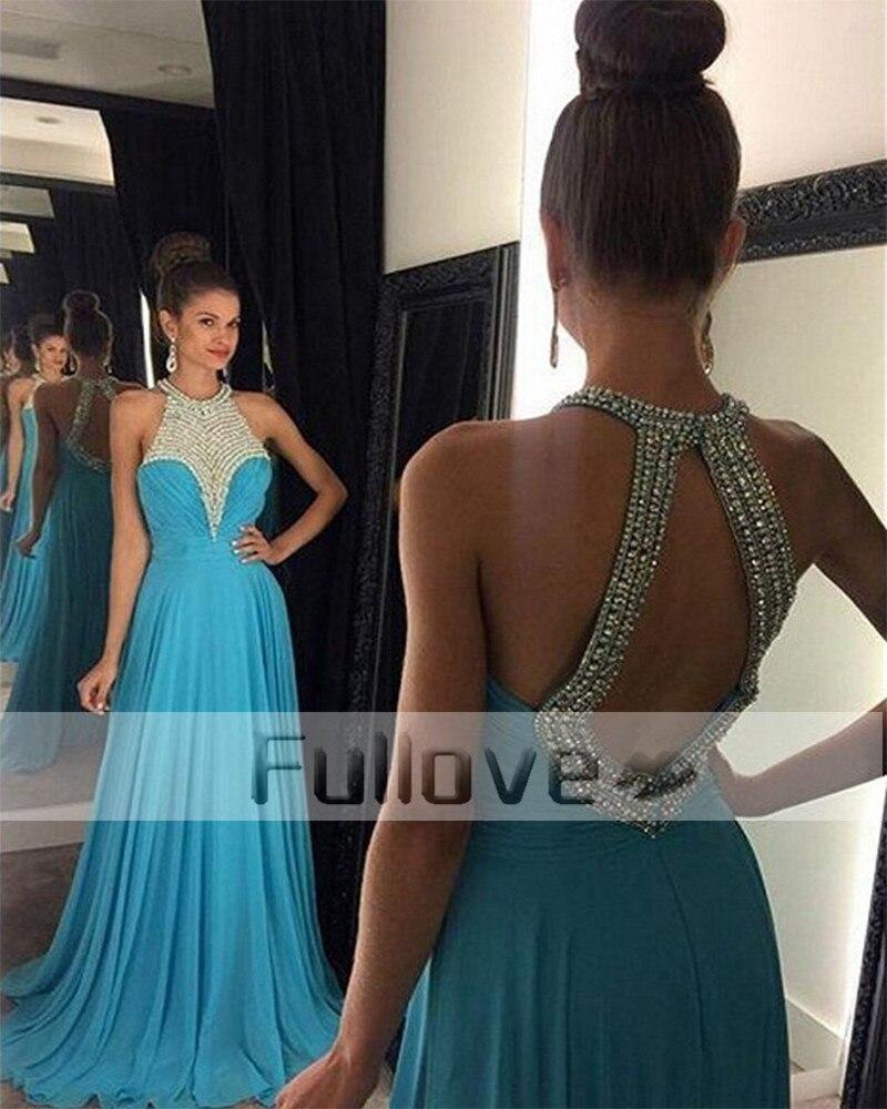 Noble licou Turquoise cristal perlé a-ligne robes de soirée longue 2019 hors de l'épaule dos nu robe formelle robe de soirée robe Vestido