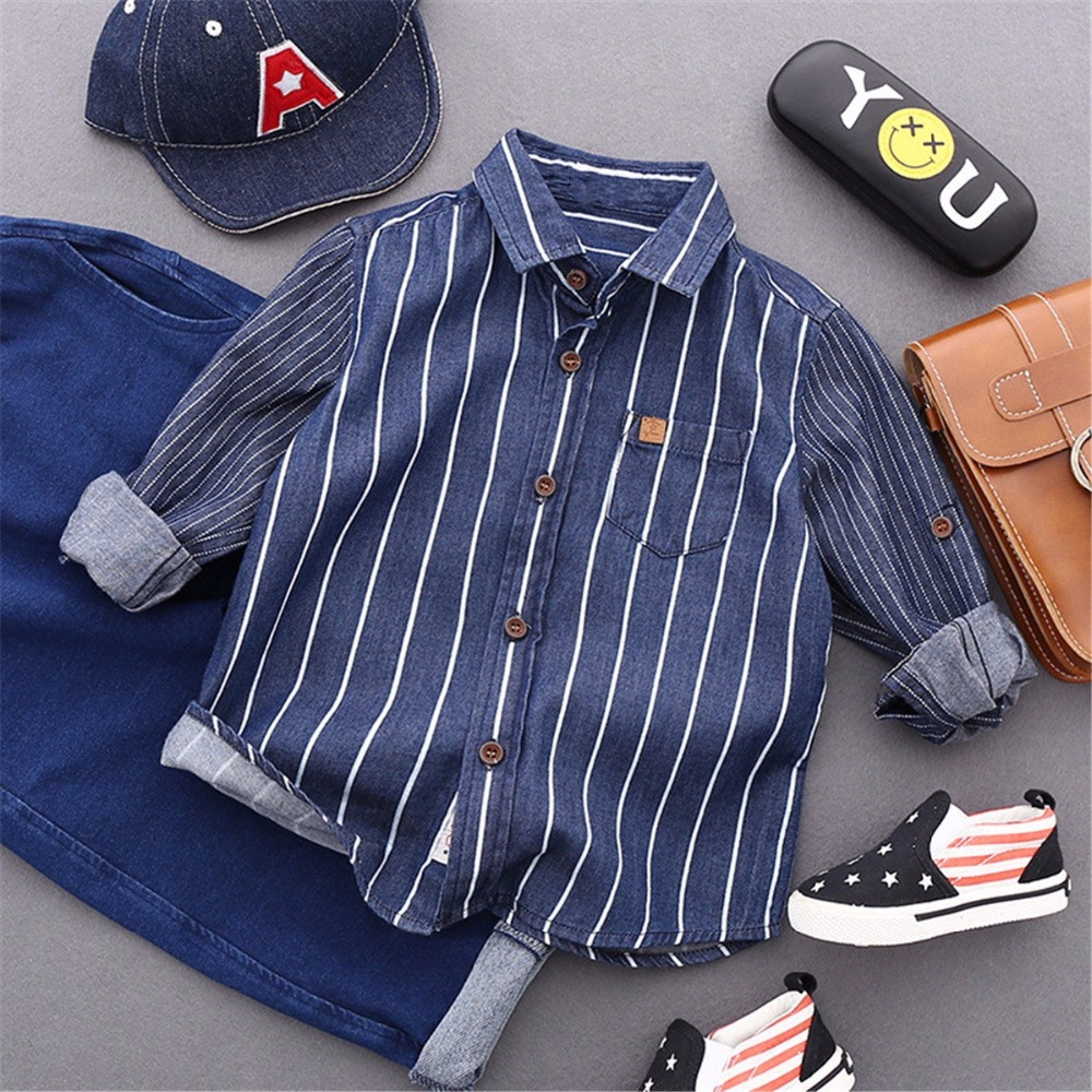 Children Long Sleeve Shirts Jeans Boys Clothes 2017 Spring Autumn Fashion Striped Casual Child Tops Wear Kids Shirts for 2-7 Y