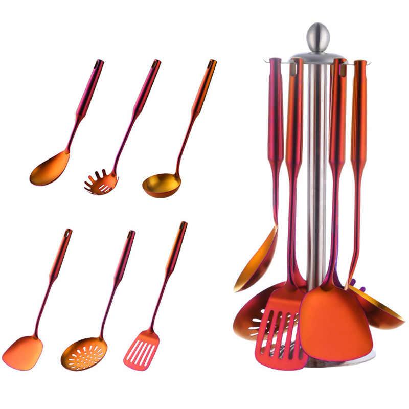7 pcs presente coador conjunto wok sopa pá utensílios de cozinha em aço inoxidável conjunto de cozinha