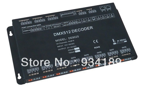 Free Shipping DMX512 Decoder, 24 Channels RGB Controller Input DC12-36V Constant Current ...