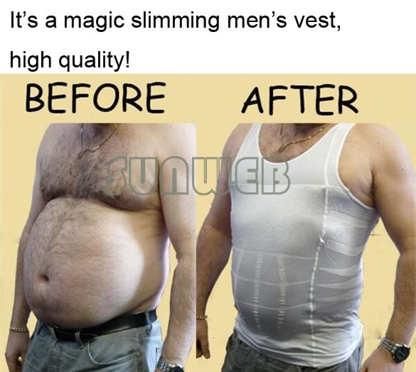 fashion 2012 free shopping New 1pc white Color Men's Vest Tank Top Slimming Shirt Corset Body Shaper Fatty 50
