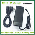 58.4V2a lifepo4  battery charger for 16Series 16*3.2V lifepo4 battery pack  with LED light shows charge state good quality