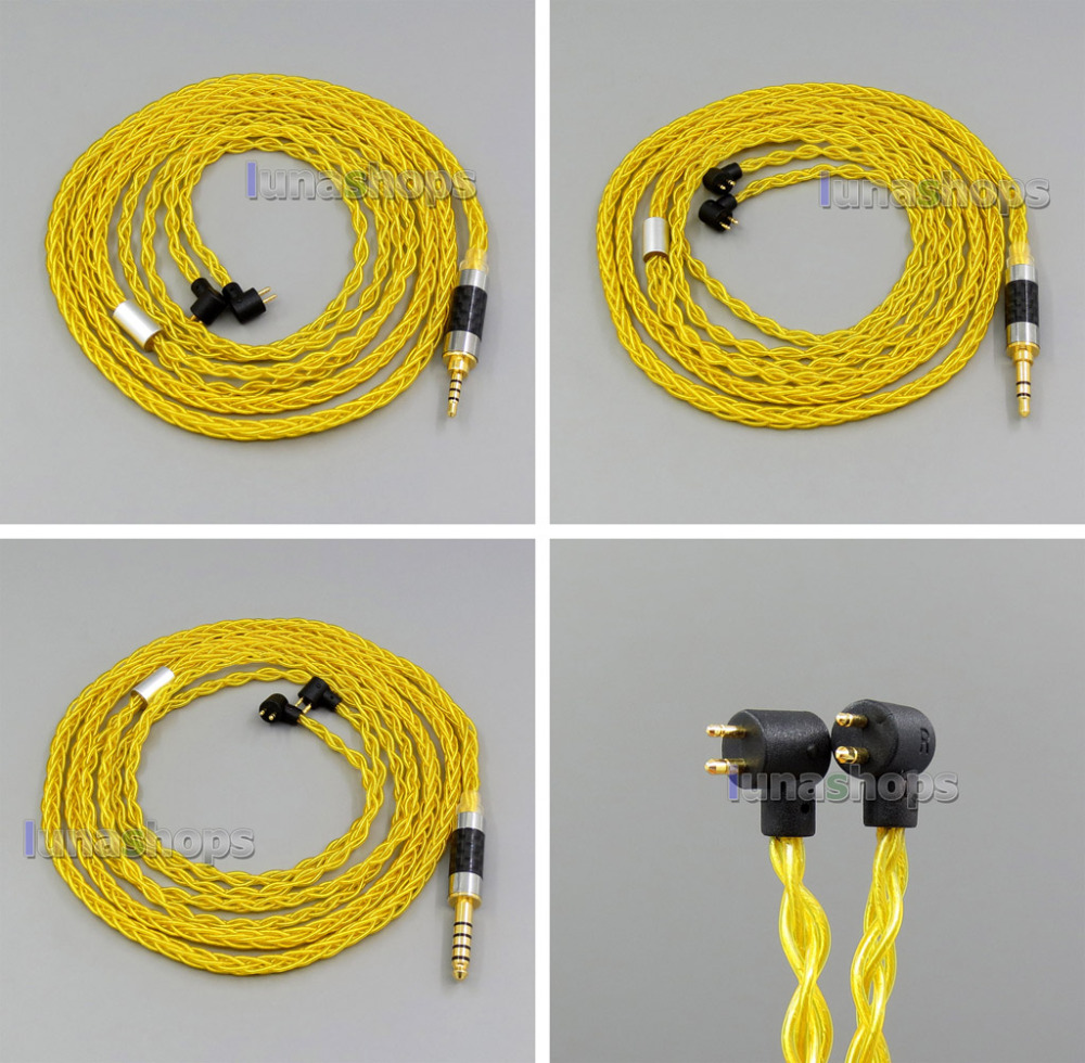 Gold 8 core 2.5mm 3.5mm 4.4mm Balanced Pure Silver Plated Earphone Cable For Etymotic ER4B ER4PT ER4S ER6I ER4 LN006125 pure pcocc earphone cable pep insulated for etymotic er4b er4pt er4s er6i er4 ln004845