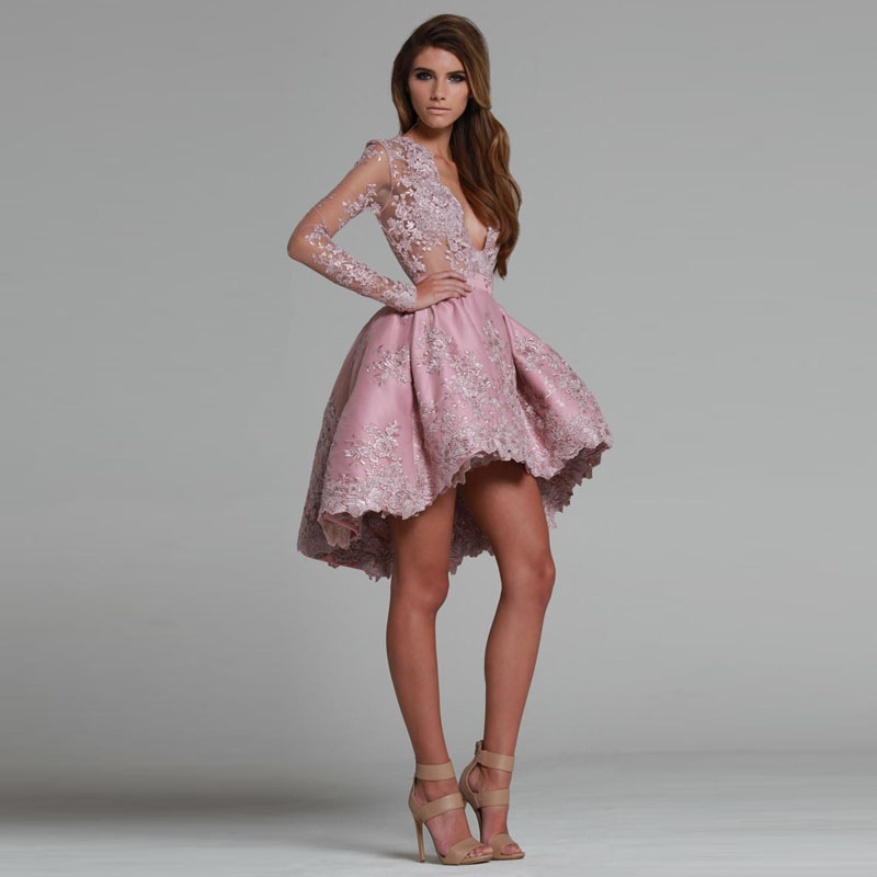 2016 Sheer Long Sleeves A Line High Low   Cocktail     Dresses   Plunging V Neck Lace Applique Homecoming Gowns Fashion Short Prom   Dress