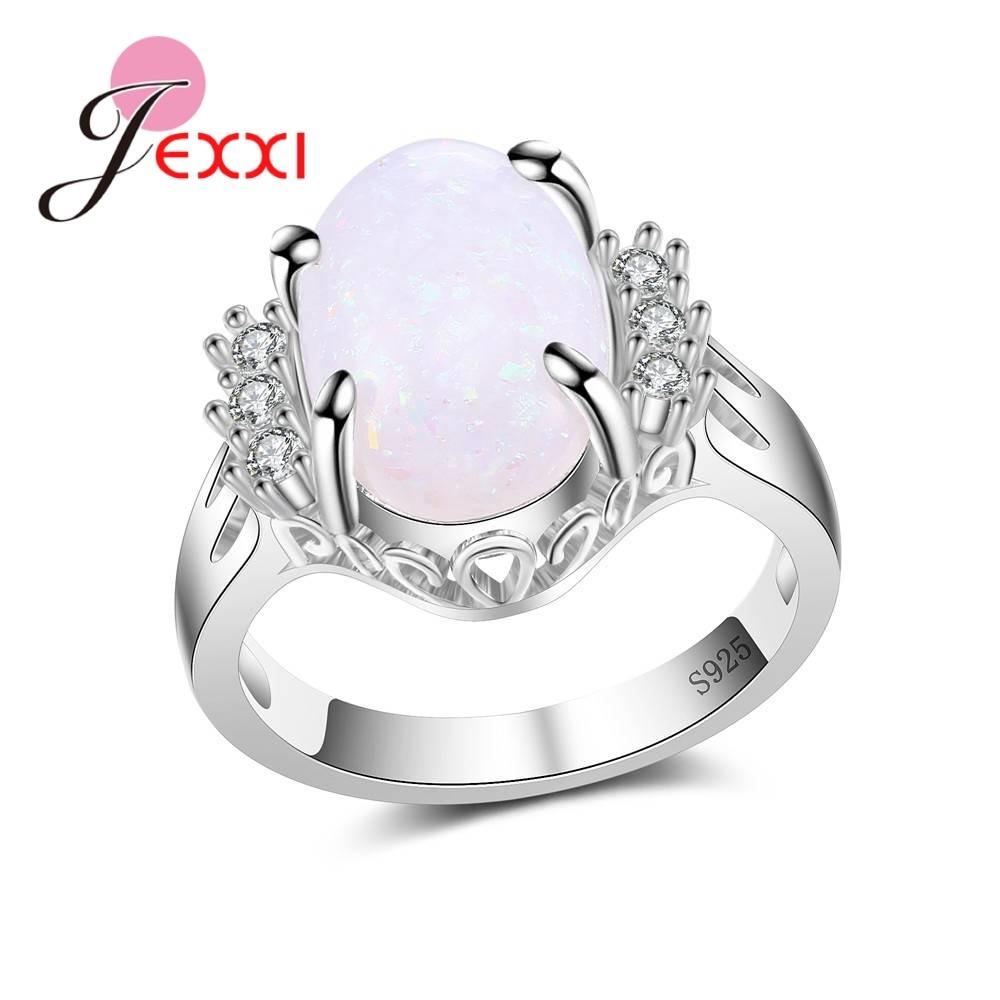 JEXXI Romantic Shiny Opal &Zircon S90 Silver Rings For