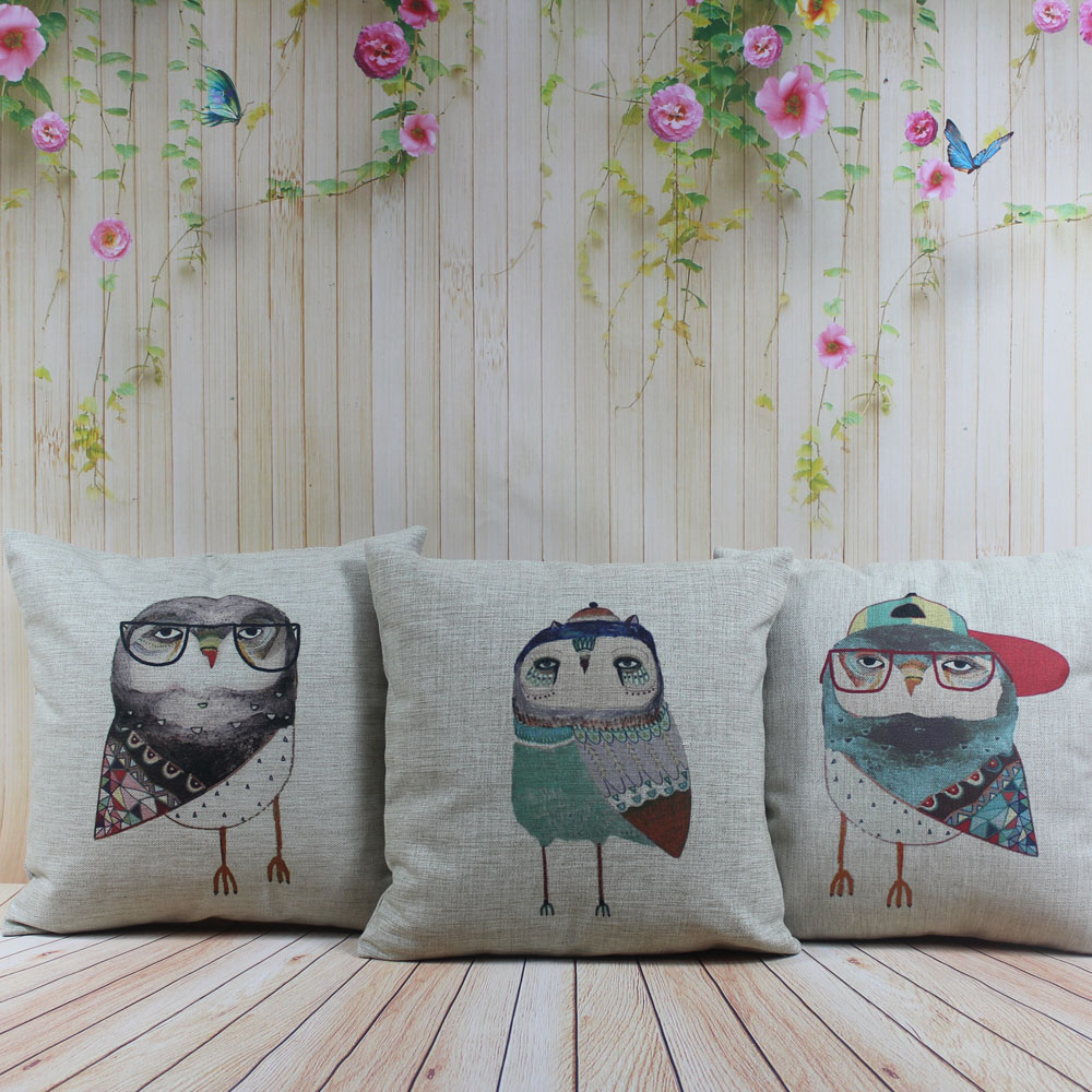 LINKWELL 18x18 1PC Colorful Watercolor Cartoon Owl Cute Baby Girl Room Home Decoration Burlap Pillowcase Throw Cushion Cover