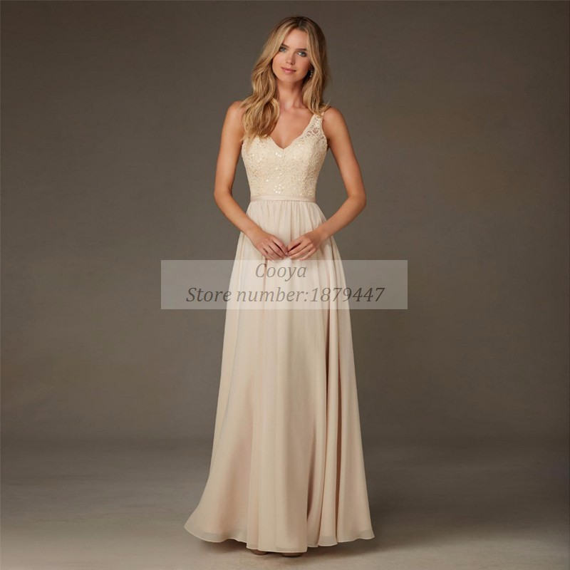 Champagne chiffon bridesmaid dresses v neck a line floor for Maid of honor wedding dresses
