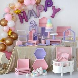 SWEETGO drewniane podstawki pod torty różowe i fioletowe serie deserowe tace strona główna ozdobny pojemnik stojaki ciasto stół pokój dziecięcy dostawcy