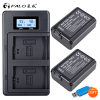 PALO 2pcs 2000mAh NP FW50 NP FW50 Camera Battery + LCD USB Dual Charger for Sony Alpha a6500 a6300 a6000 a5000 a3000 NEX 3 a7R