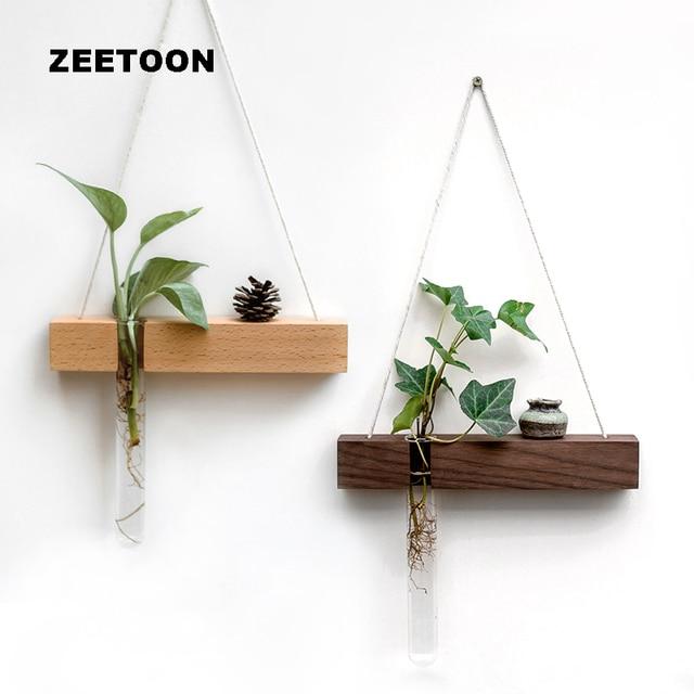 0e24fdc418b Black Walnut Wood Glass Test Tube Wall Vase Hydroponic Plant Flower Pot  Handmade Jardiniere Home Decor Creative Ornament Pendant
