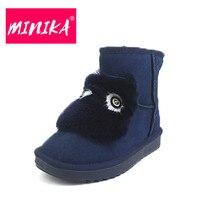 MINIKA Fashion Women Winter Shoes Lovely Faux Fur Warm Plush Ankle Boots Women Durable Rubber Outsole