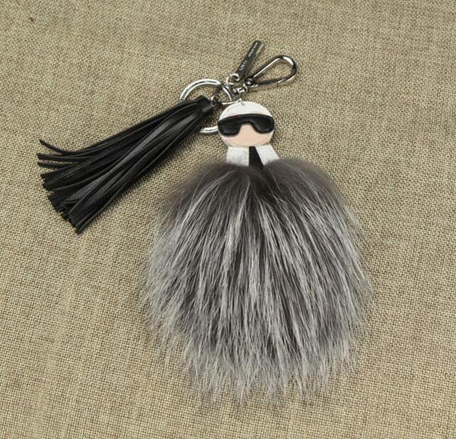 Car key chain pendant bags hang fur fox hair bulb Leather tassel pendant new fashion real fox fur keychain