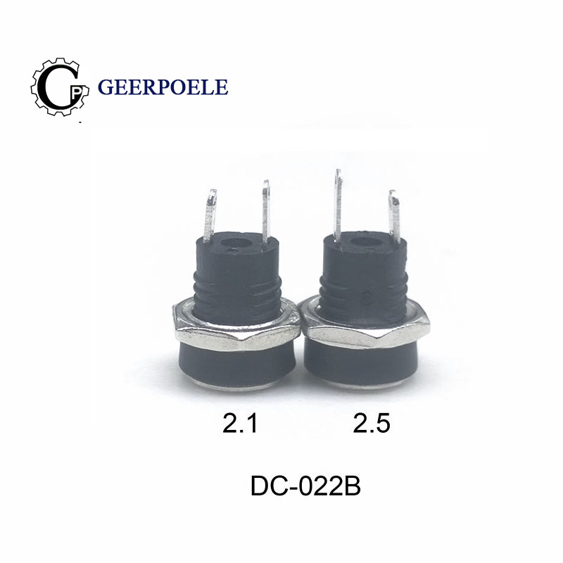 10/pcs DC-022B Copper Socket 8mm Round Hole DC Power Supply Charging 2.1/2.5mm DC Socket