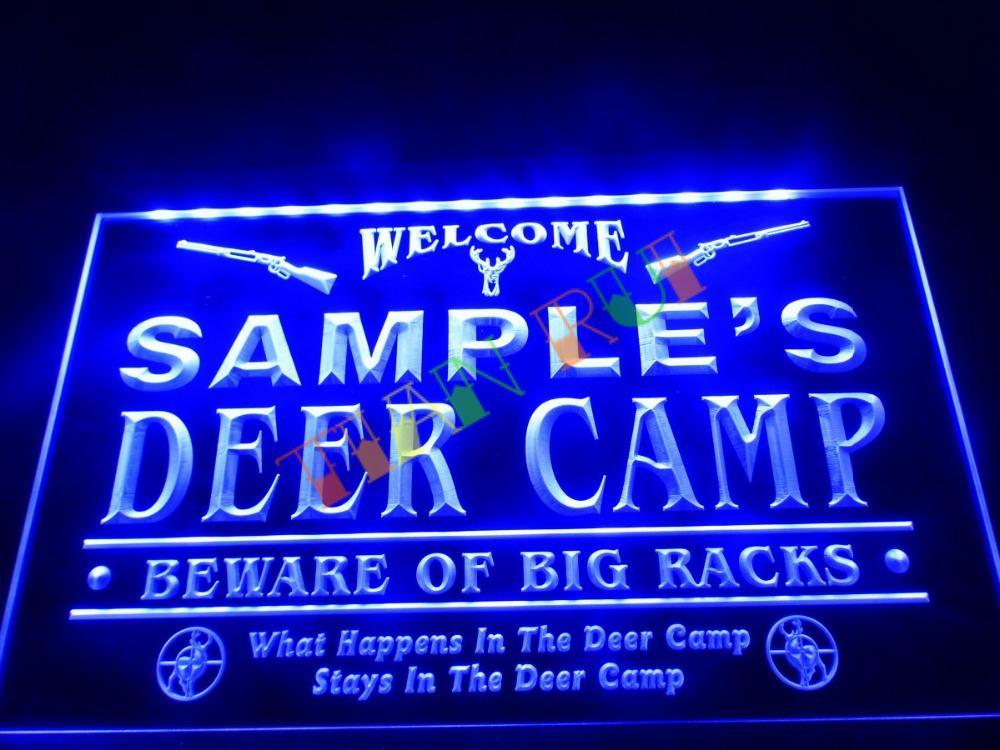 dz029 name personalized custom deer camp big racks bar beer neon sign hang sign home decor shop. Black Bedroom Furniture Sets. Home Design Ideas