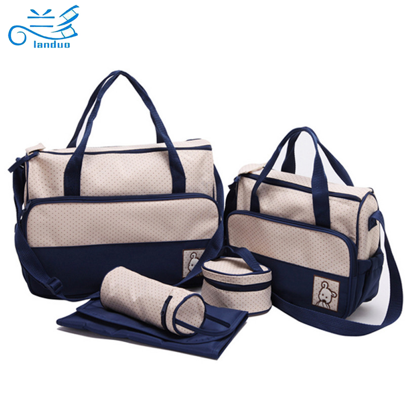 ФОТО Landuo 5pcs/set Multifunctional baby diaper bags baby nappy bags maternity bags messenger bag lady handbag tote diapering