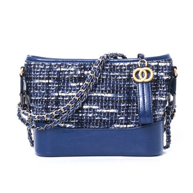 Casual Women Messenger Crossbody Genuine Leather Diamond Lattice Nubuck Leather Bags Shoulder Handbag Chains Bucket Soft Bag цена