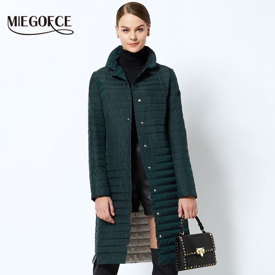 MIEGOFCE 2019 Women Cotton Padded Jacket Thin Women Quilted Parkas Long Spring Windproof Women's Spring Jackets Coats New Design-in Parkas from Women's Clothing    1