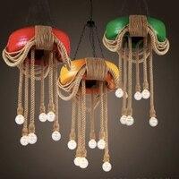 Винтаж Творческий Книги по искусству ручной работы Красочные шины пеньковая веревка LED E27 * 6 цепи подвесной светильник для ресторана Кофе ба