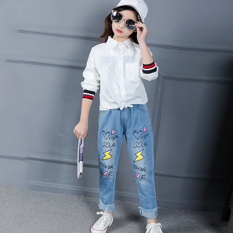 Children Broken Hole Pants Baby Girls Jeans Brand Fashion Spring Kids Denim Trousers Children Clothing Print