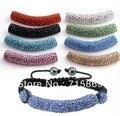 Free Ship 10pcs/lot  DIY Beads, Shamballa Long Tube Beads Meaning Crystal Rhinestone Pave Bending rhinestone charms Multi Color