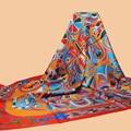 """Huajun     color clásico bufanda de marca """"FOLKLORE"""" 140 gran bufanda de seda 100% de seda de seda de morera twill bufanda mantón de la impresión"""