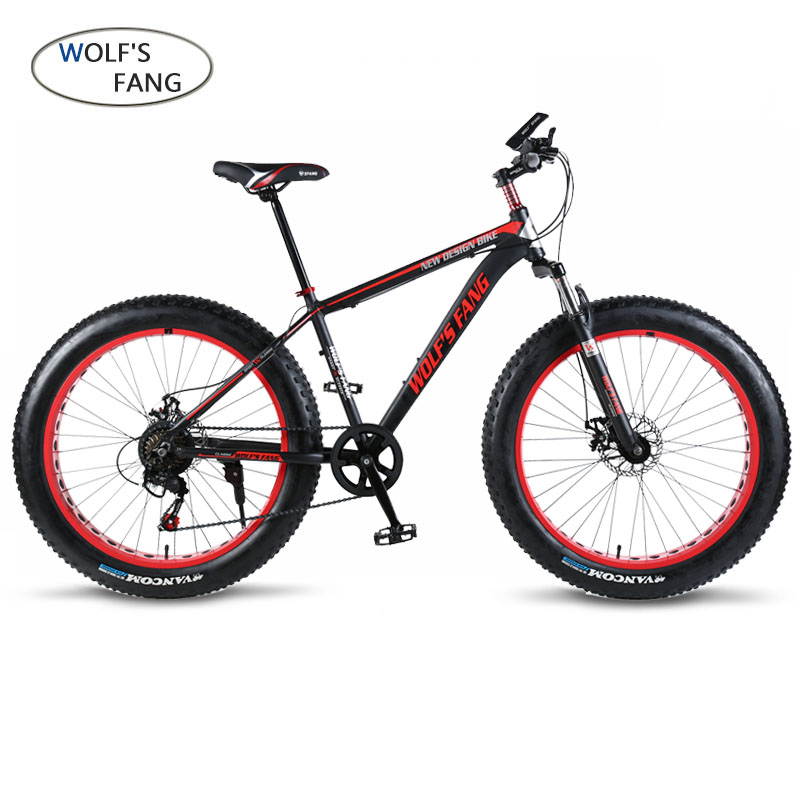 wolf s fang Mountain Bike 21 24Speed bicycle Cross country Aluminum Frame 26x4 0 Fat bike wolf's fang Mountain Bike 21/24Speed bicycle Cross-country Aluminum Frame 26x4.0 Fat bike Snow road bicycles Spring Fork Unisex