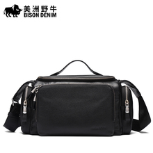 BISON DENIM Brand Men Messenger Bag Genuine Leather Camera Bag Designer Handbag Crossbody Bag Men's Shoulder Bags Free Shipping
