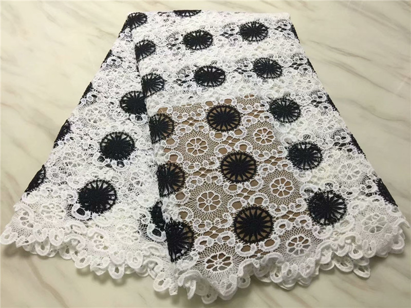 black and white nigerian lace fabric 2018 high quality lace guipure lace fabric 2018 african lace