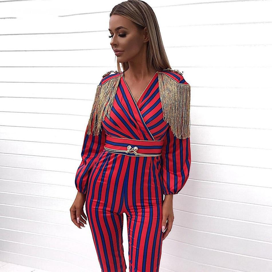 Seamyla 2018 New Runway   Jumpsuits   Women Long Sleeve Fringe Celebrity Party   Jumpsuit   Red Blue Striped Tassel Slim Bodysuits
