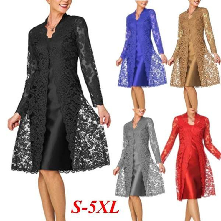 2019 Women Summer Autumn Two Pieces Charming Dress Solid Color Party Dress Plus Size Office Lady Dresses Long Sleeve Lace Dress