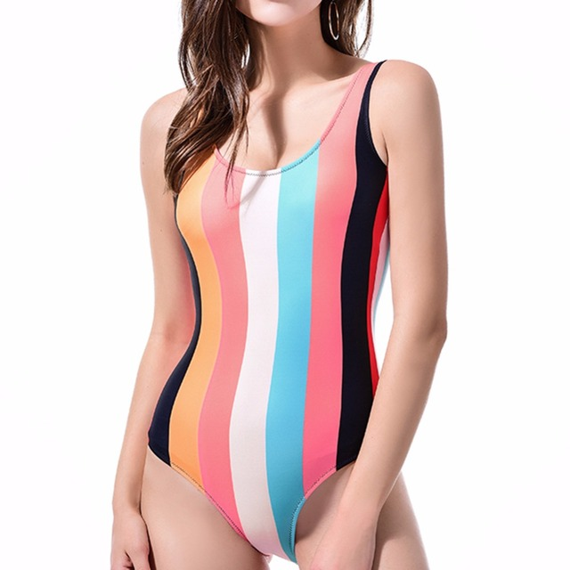 Color striped black white swimming suit for women sport one piece swimsuit for girls Leotard female swimwear women 2018 monokini 4
