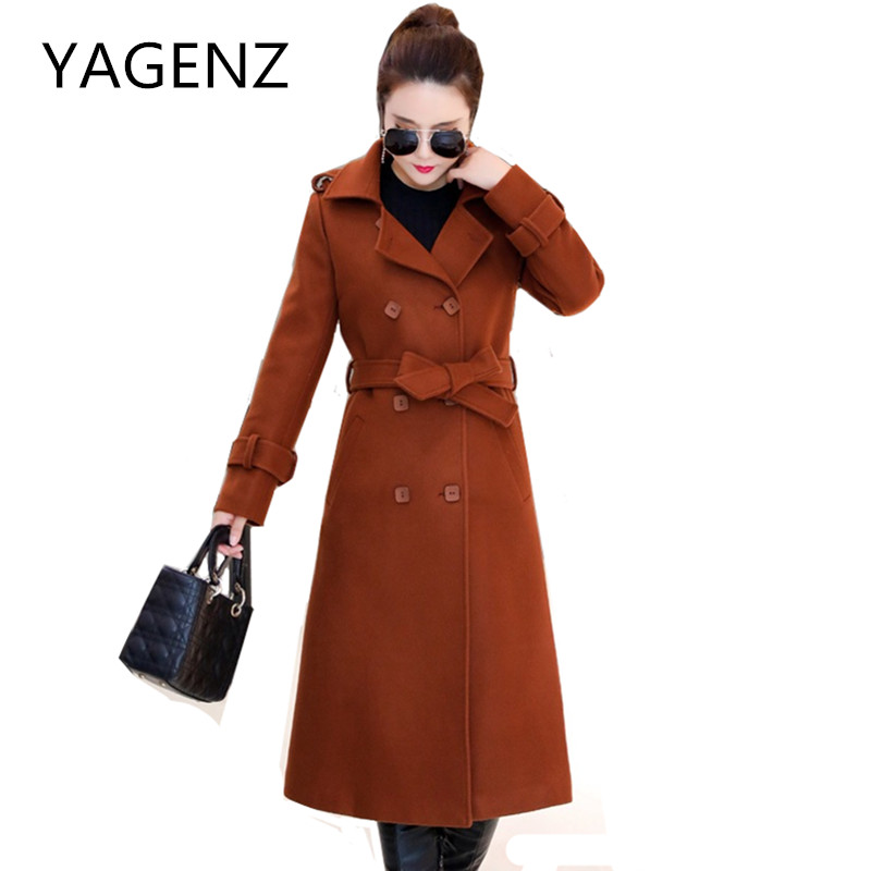 Double breasted Winter Women Jacket Wool Coats Young Clothing Slim Temperament Fashion Long Overcoat Warm Belt Lady Woolen Coats 2018 new fashion suede lamb wool women coats double breasted warm solid thick long overcoat casual winter cotton jackets female