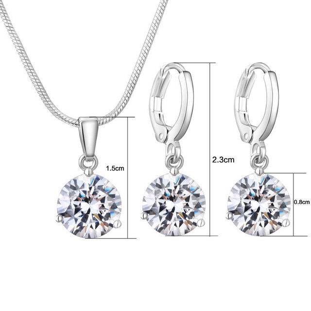 CARSINEL 21 Colors Jewelry Sets for Women Round Cubic Zircon Hypoallergenic Copper Necklace/Earrings Jewelry Sets Wholesale 5