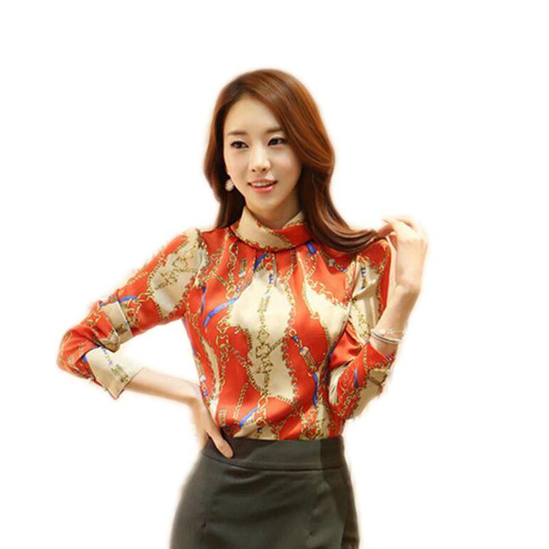 Long Sleeve Shirt Women Turn-down Collar Slim Printed Ladies Tops Autumn Fashion Korean Clothes Women Blouses Hot Sale Blue Red